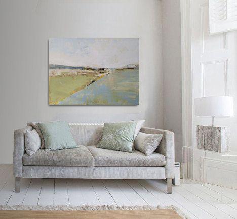 Abstrakte Malerei grün grau und blau moderne von INKAARTSHOP