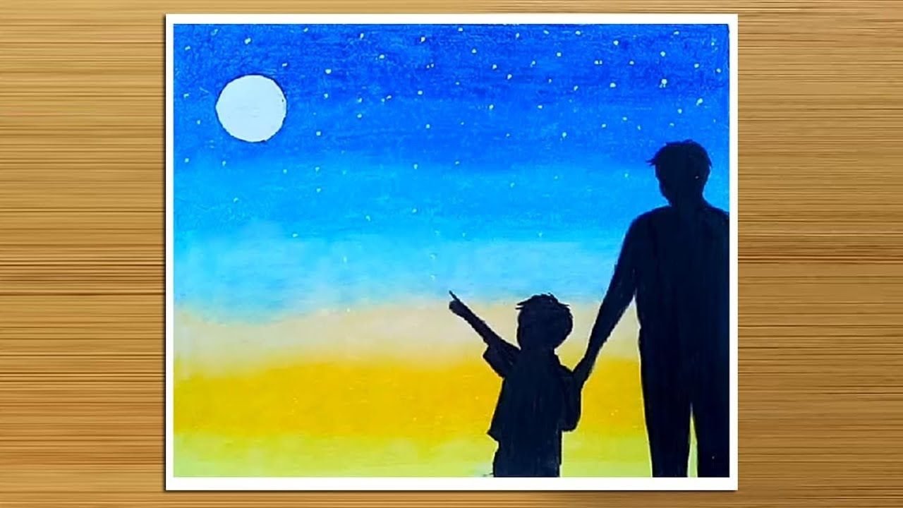 Father S Day Drawing With Oil Pastels How To Draw Father And