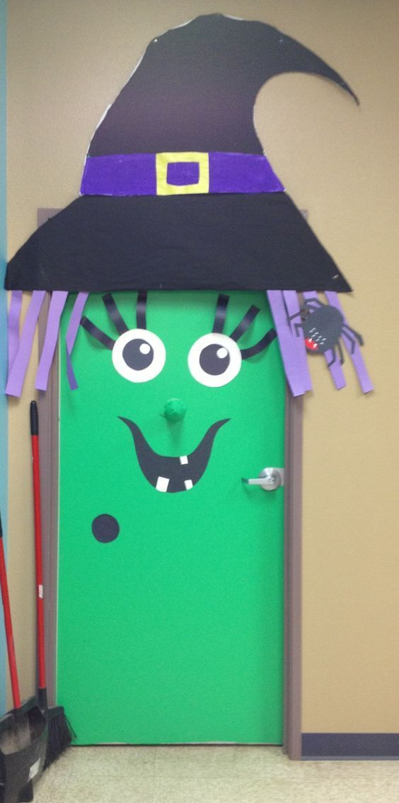 Easy Halloween Door Decorations on a Budget for the Classroom #halloweenclassroomdoor Easy Halloween Door Decorations on a Budget for the Classroom Witches #halloweenclassroomdoor