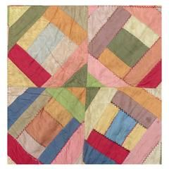 American Patchwork Quilted Silk Textile, Mid-20th Century