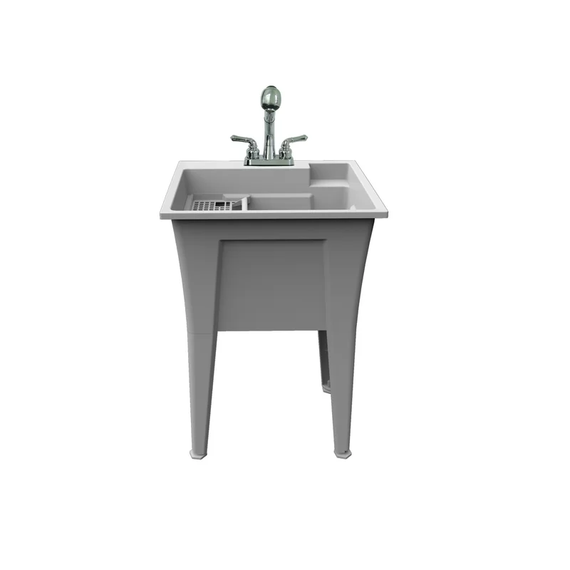 Luiza 22 X 24 Free Standing Laundry Sink With Faucet Laundry