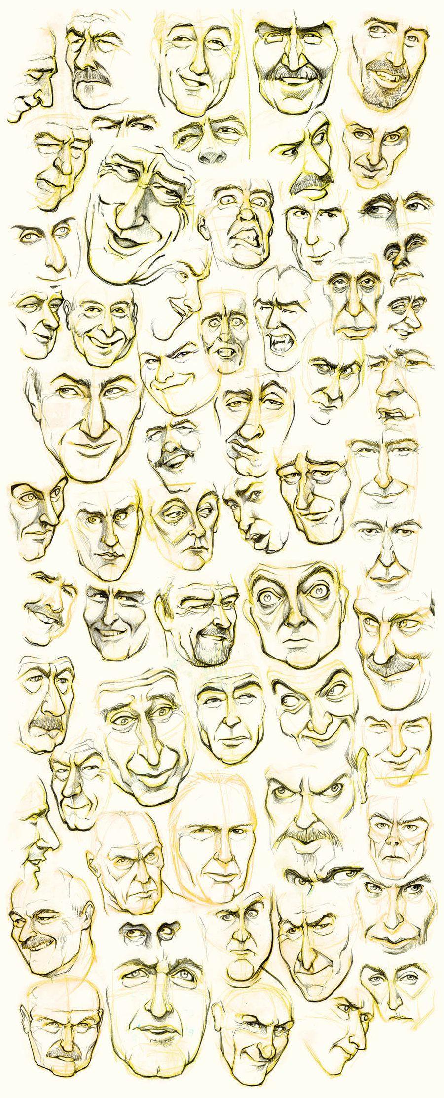 Algunos rostros de hombres que tuve que dibujar a l&#225iz dentro de ...