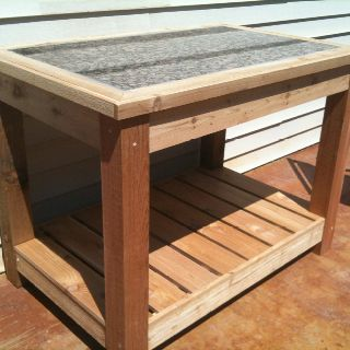 DIY Potting Table Made By My Dad And Eric With Scrap Piece Of Granite