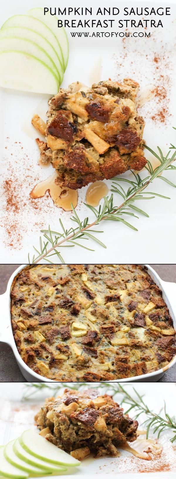 Everything you could want for Christmas morning breakfast in a delicious, hearty and healthy strata! http://www.lauralaire.com/pumpkin-and-sausage-strata/