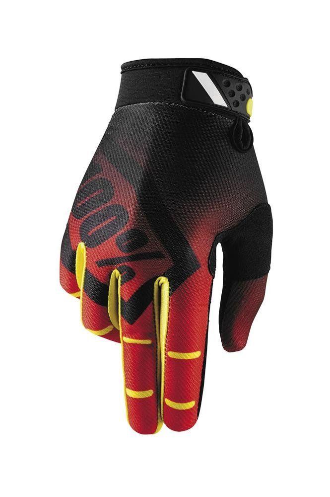 MEDIUM 100/% Ridefit Gloves RED//YELLOW