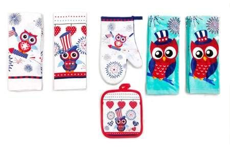 Mainstays Owl Kitchen Linen Set of 6 - 4 Kitchen Towels, Pot ...