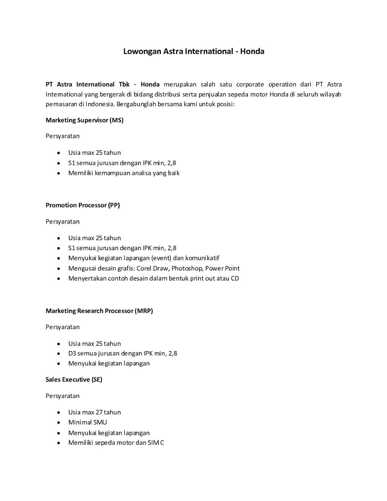 5 Contoh Surat Lamaran Kerja PT Astra Surat, Honda