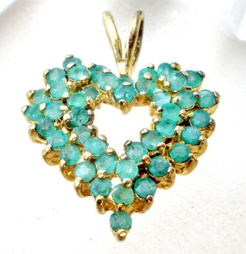 Emerald Heart Slide Pendant For Necklace Green Gemstones Gold Wedding Fashion