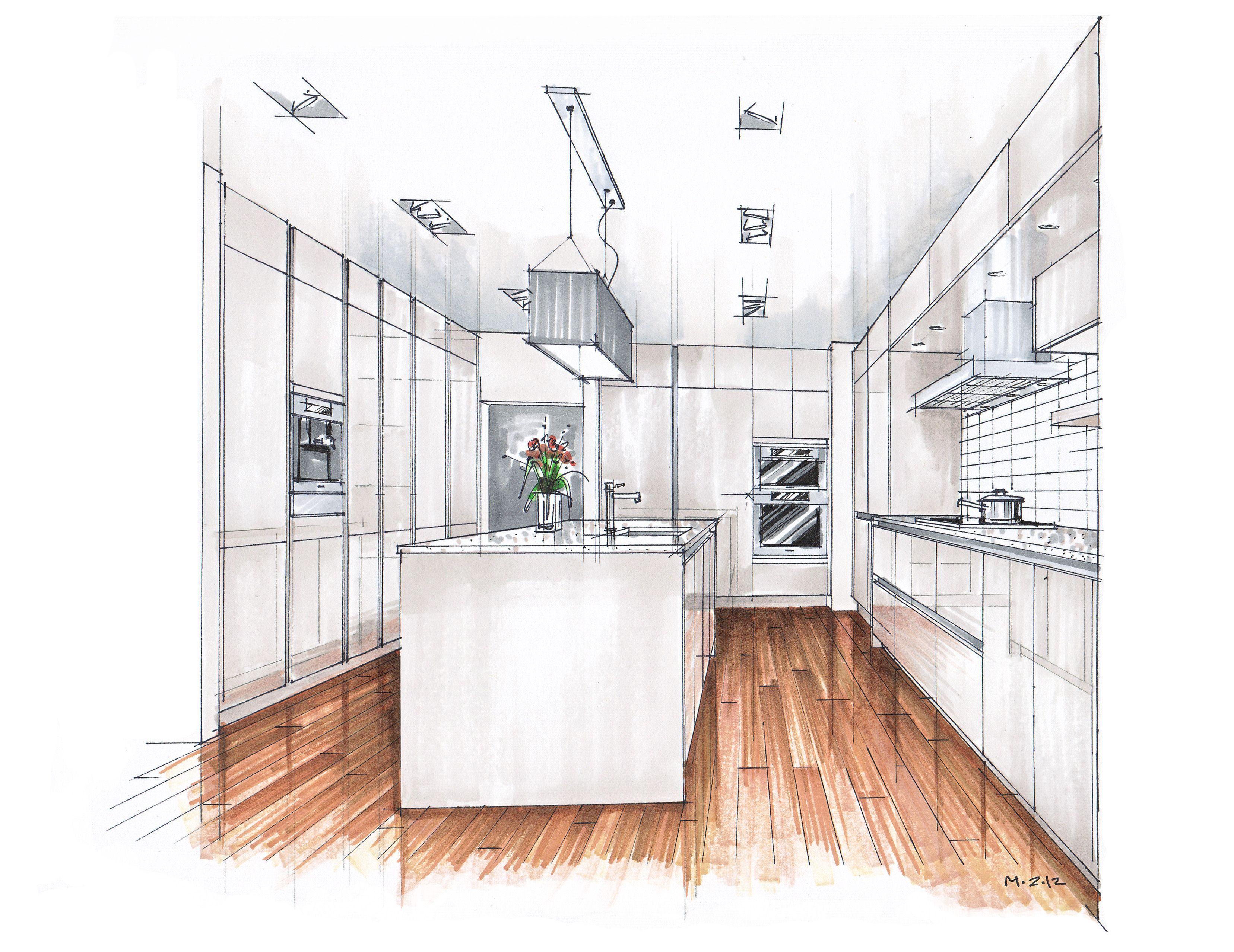 Inspirational kitchen marker rendering google search for Interior designs kitchen sketches
