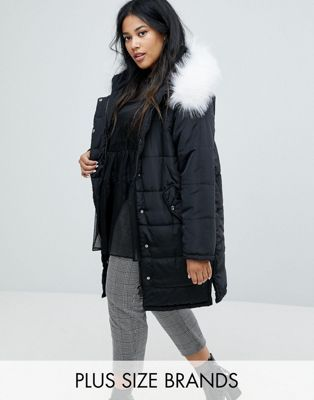 52d6cd7948083 Lost Ink Plus Padded Coat With Faux Fur Trim