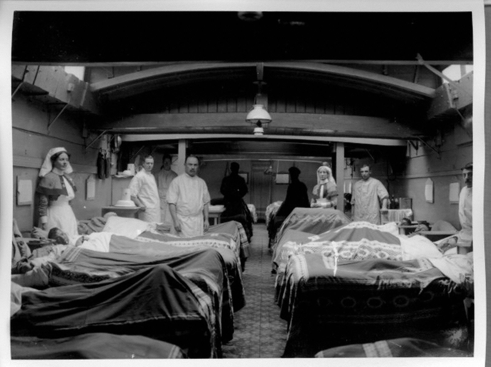 The interior of a hospital barge showing how the cargo hold has been converted into a functioning ward.Medicine During the First World War: Medical Transport | First World War Poetry Digital Archive