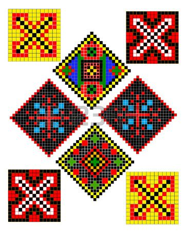 Ukrainian folk patterns of different types and colors | Hama beads ...