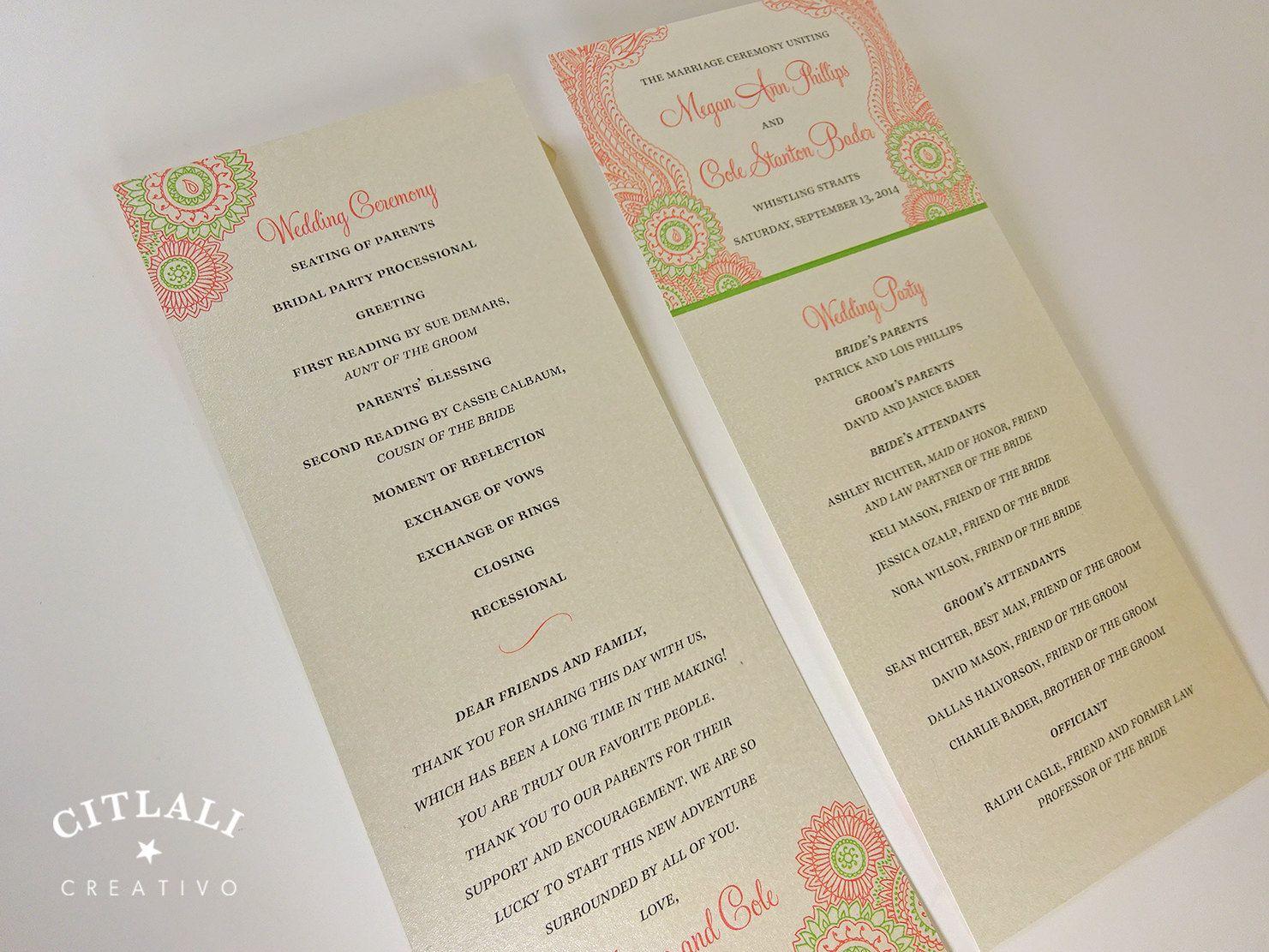 Mehndi Ceremony Cards : Henna mehndi tea length wedding ceremony programs