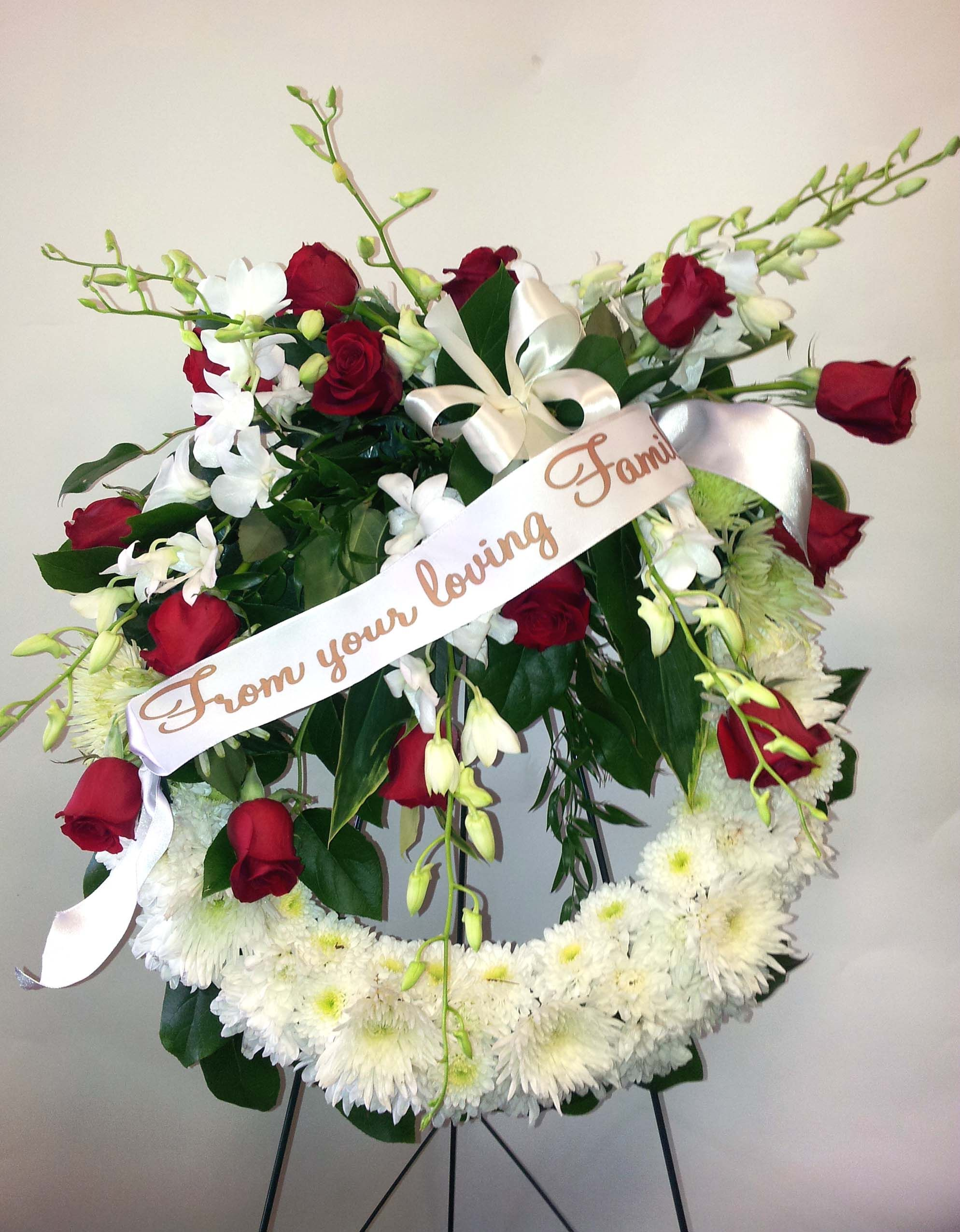 White red standing spray with ribbon funeral flowers