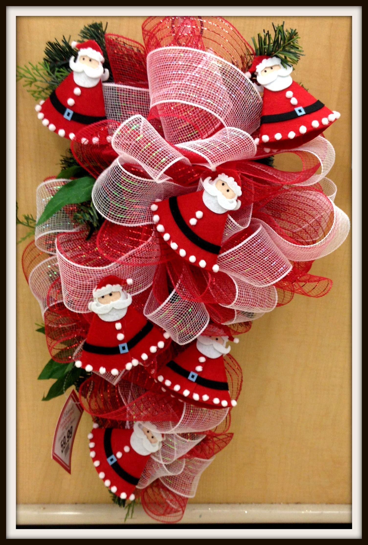 Red and White Santa Deco Mesh Tear Drop Christmas Holiday ...