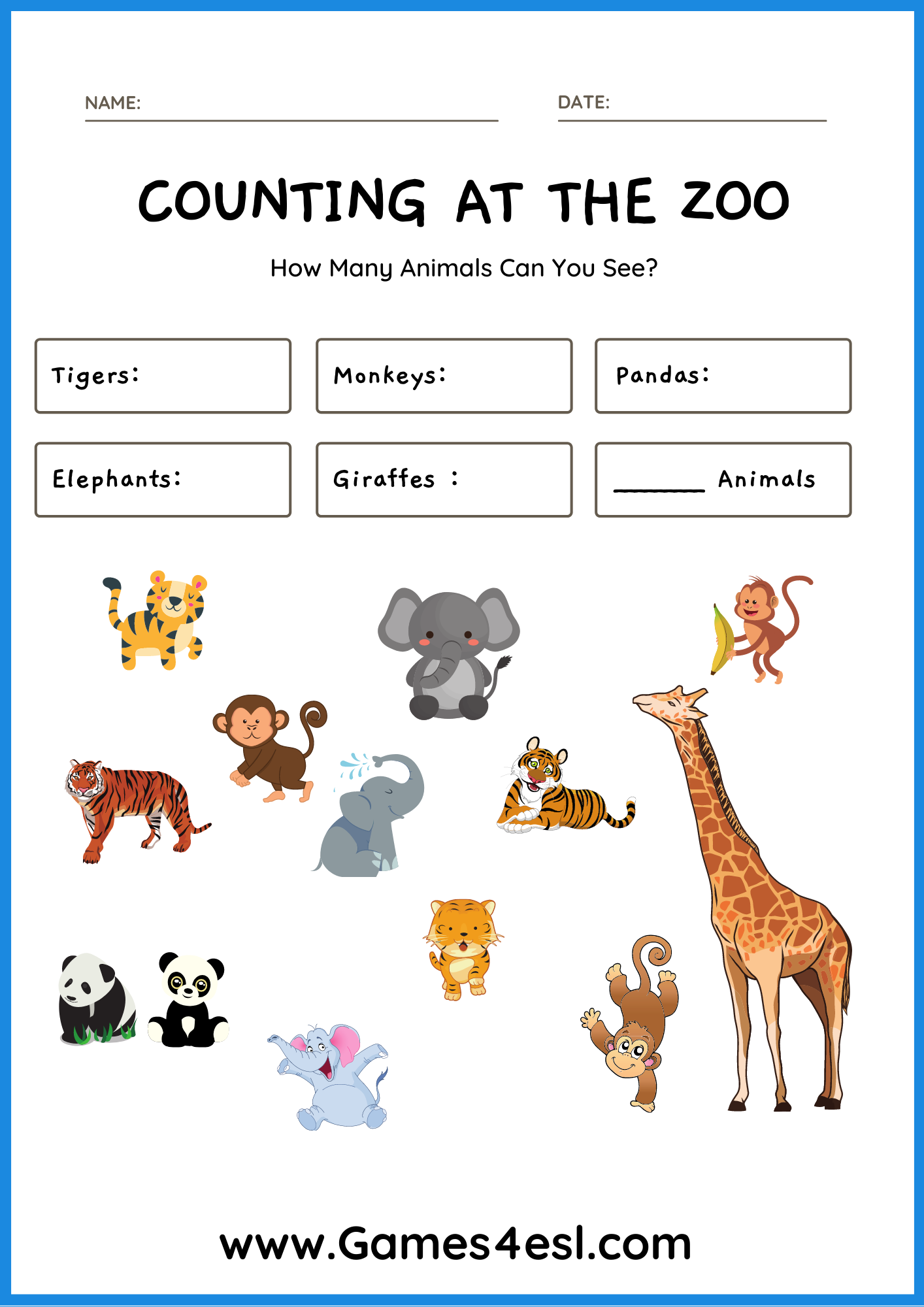 Count The Animals Worksheet Numbers Worksheets For Kids Animal Worksheets Numbers Preschool Printables English Worksheets For Kids [ 2000 x 1414 Pixel ]