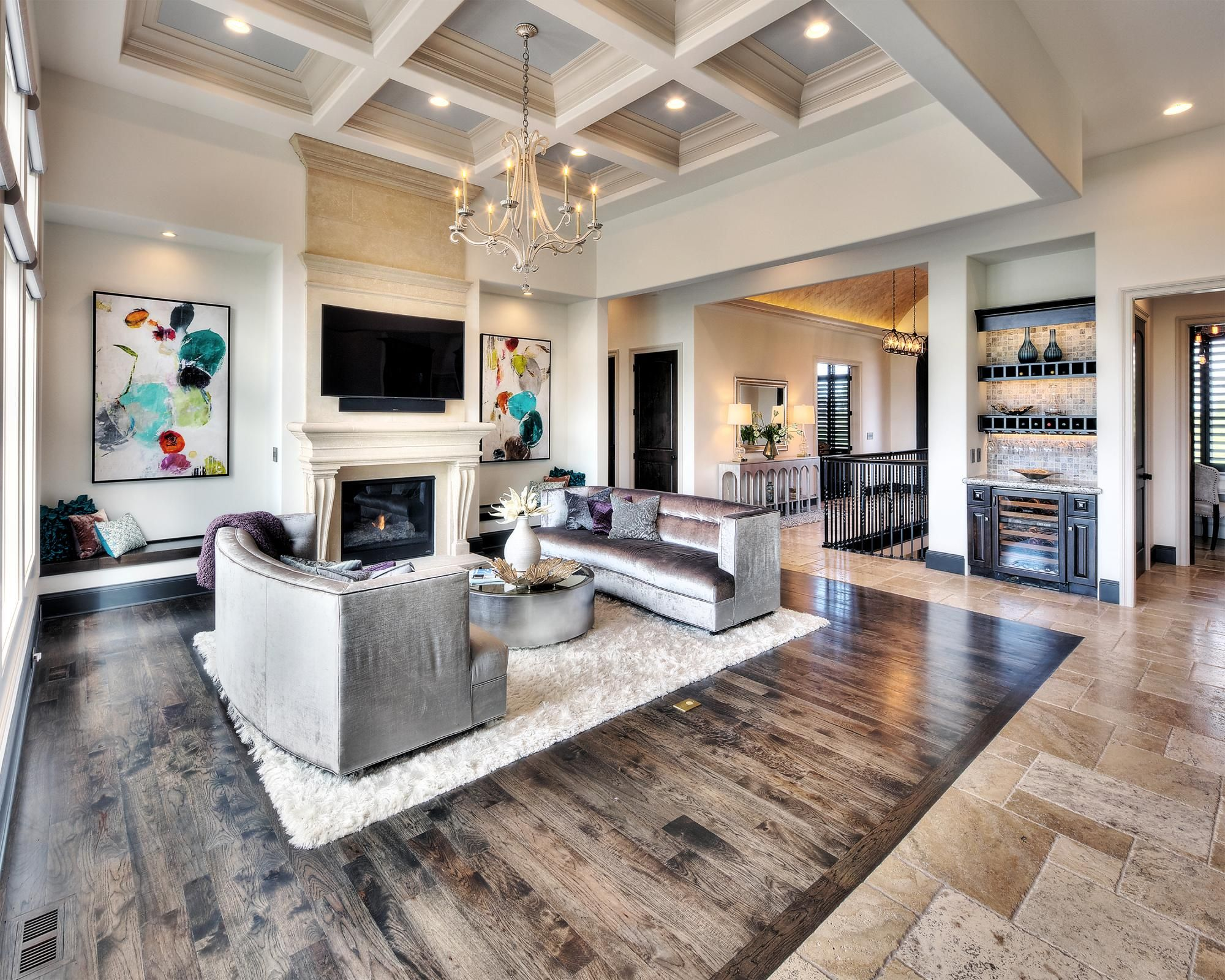 Hearthrooms Photo Gallery Custom Homes In Kansas City Ks Starr Homes Mix Of Tile And Wood Floor Luxury Interior Transitional Living Room Design Home Decor