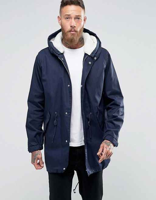 ASOS   ASOS Parka Jacket With Removable Borg Lining In Navy ...