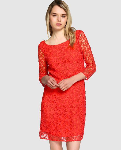 703d201389 Vestido de mujer Naf Naf calado en color sandía