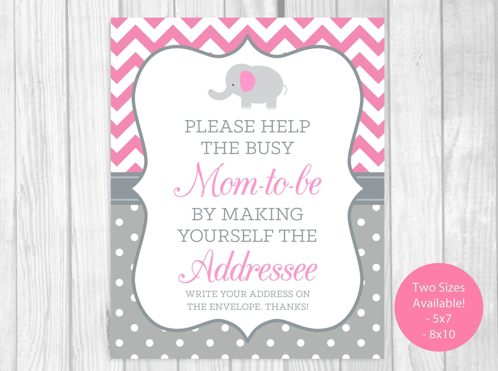 Help Busy Mom-to-Be 5x7, 8x10 Printable Write Your Address ...