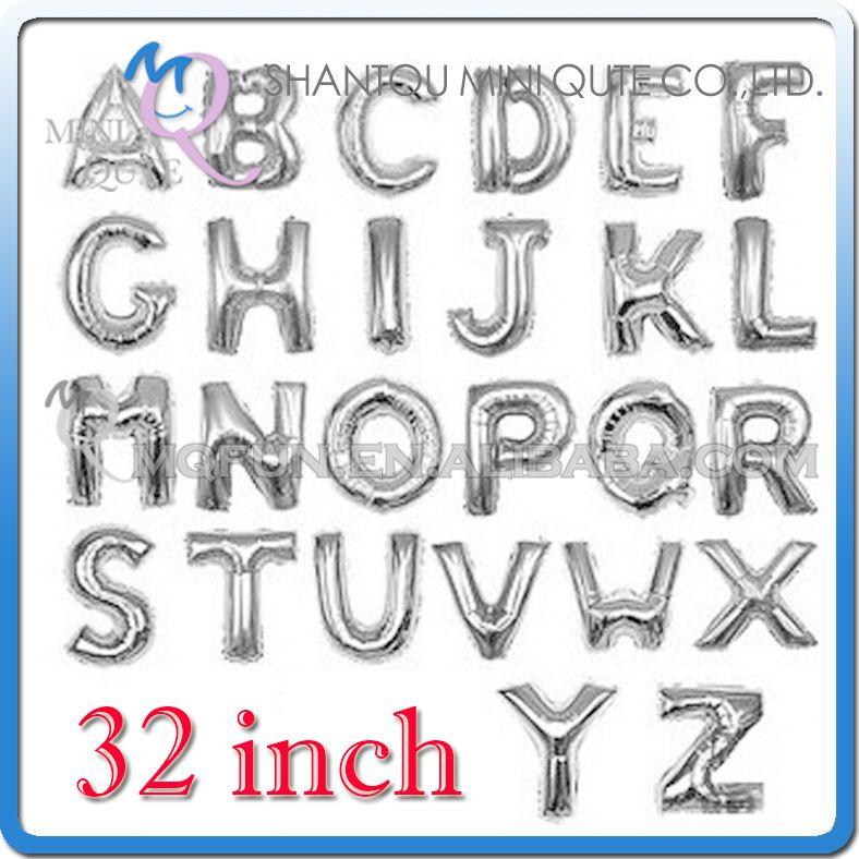 1 개 32 인치 실버 알루미늄 호일 파티 용품 웨딩 장식 영어 ABC AZ 편지 어린이 생일 아이 공기 풍선