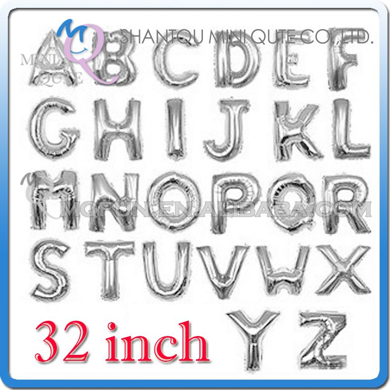 1 STKS 32 inch Zilver Aluminiumfolie feestartikelen Bruiloft decoratie Engels ABC A-Z letters kinderen verjaardag kids air Ballon