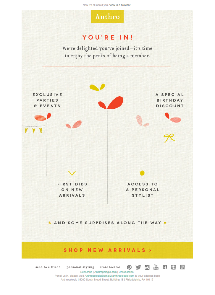 Simple welcome email from Anthropologie. This is a creative way to ...
