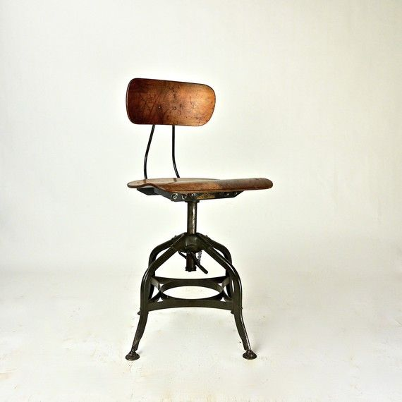 Antique Factory Industrial Toledo Drafting Stool Hanging Chair