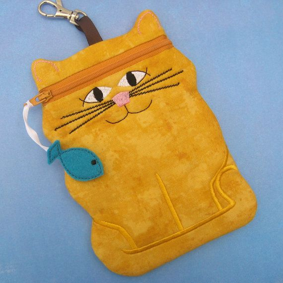 Cat shaped cell phone or camera case in mustard by sewingamity
