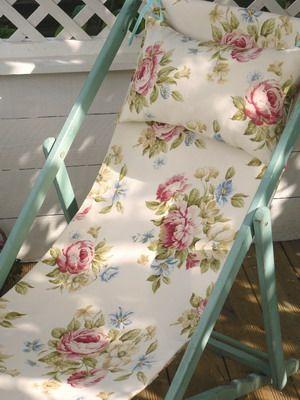 Genial Painted Floral Deck Chair   Vintage Lifestyle