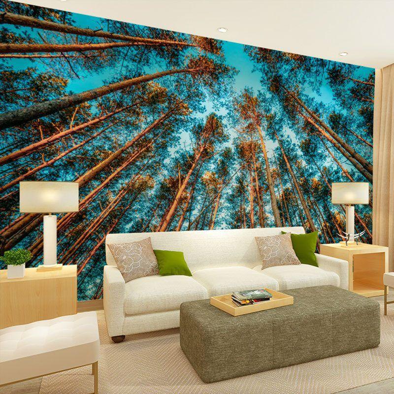 Wandgestaltung Wohnzimmer Ideen Wandtapete Landschaft Motive