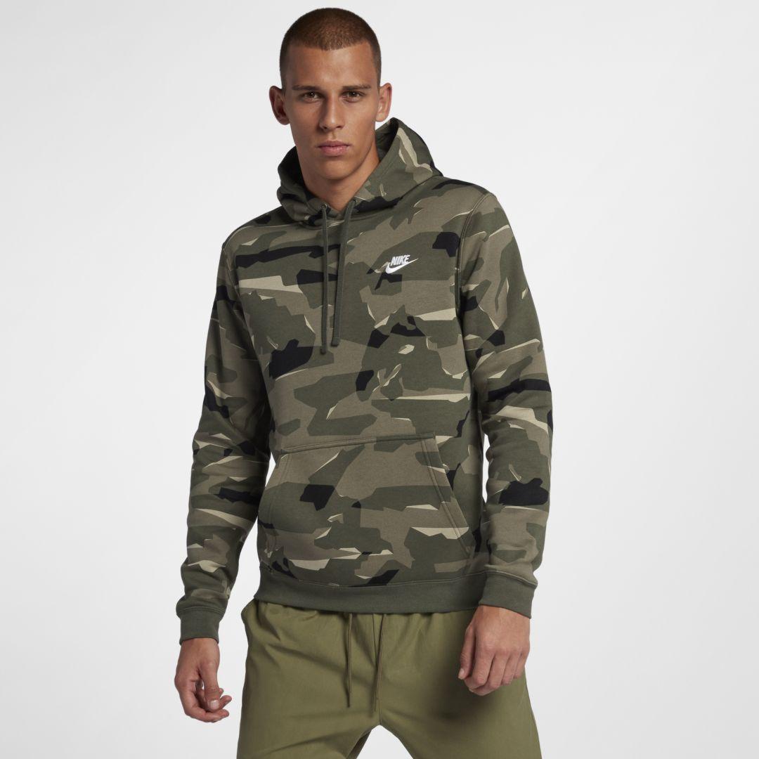 6cd8e2f73745 Nike Sportswear Club Men s Camo Pullover Hoodie Size XL Tall (Cargo Khaki)