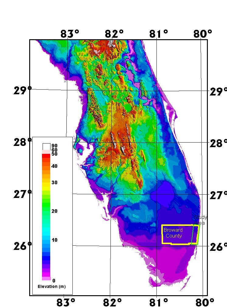 topographical map of florida   An Airborne Laser Topographic ...