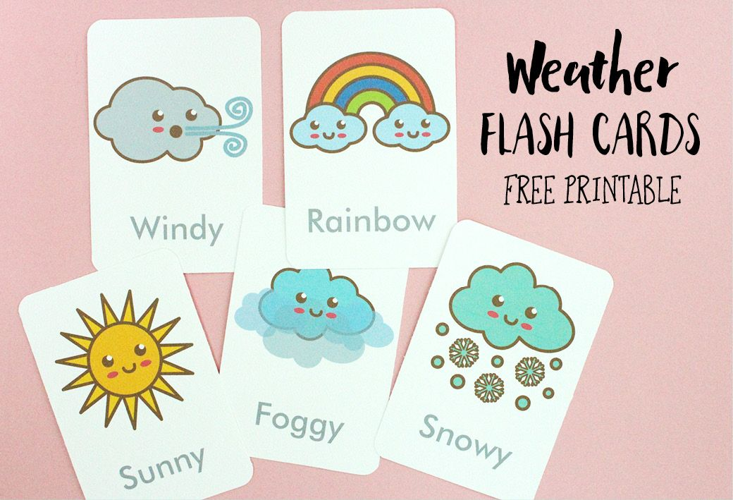 Free Printable: Weather Flash Cards | Printable flash ...