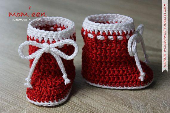 Babyschuhe Babystiefel Santa Mit Kordel Rot Weiß 0 3 Von Momeen