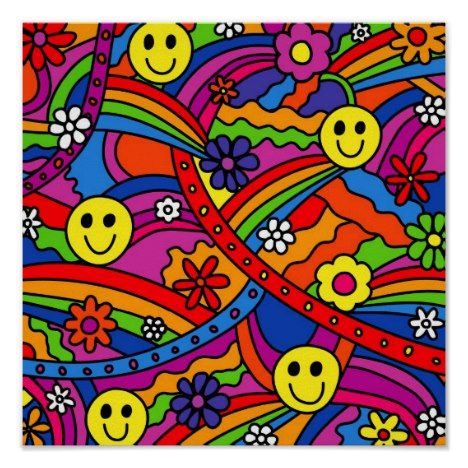 Smiley Face Rainbow and Flower Hippy Pattern Poster