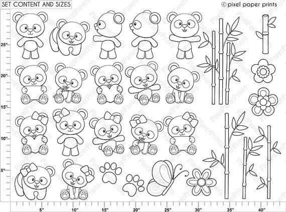 Panda Bear Digital Stamps Clipart by pixelpaperprints on