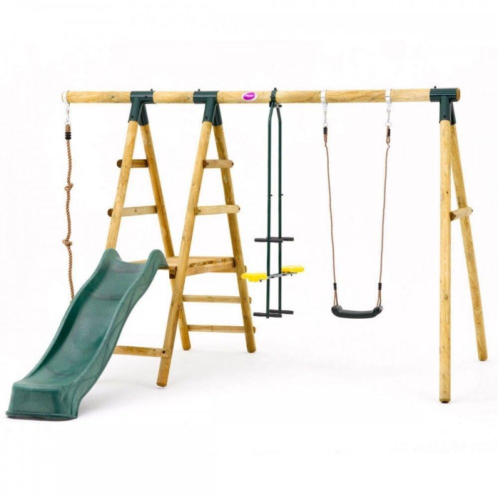 Plum® Meerkat Wooden Garden Swing Set | Children Play Equipment ...