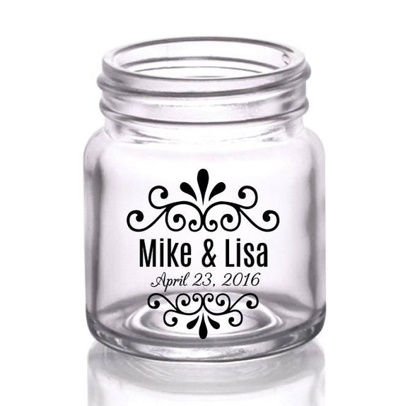 Swirly Names Custom Wedding Mini Mason Jar Shot Glasses Mason Jars Shot Glass Wedding Mason Jar Shots
