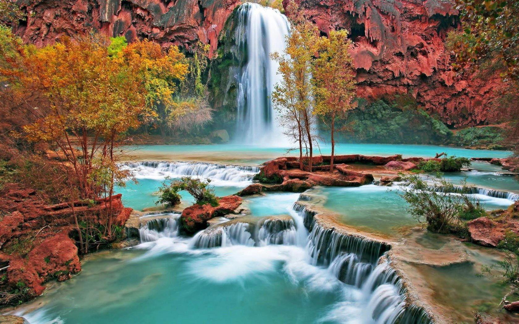 Cascade bel automne Fonds d'écran - 1680x1050 | Photographe nature, Belle nature, Les cascades