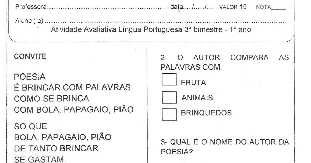 Alfabetizacao Solidaria Avaliacao Lingua Portuguesa 3º Bimestre
