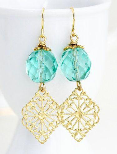 Sea Green Earrings Green and Gold Dangle by JacarandaDesigns