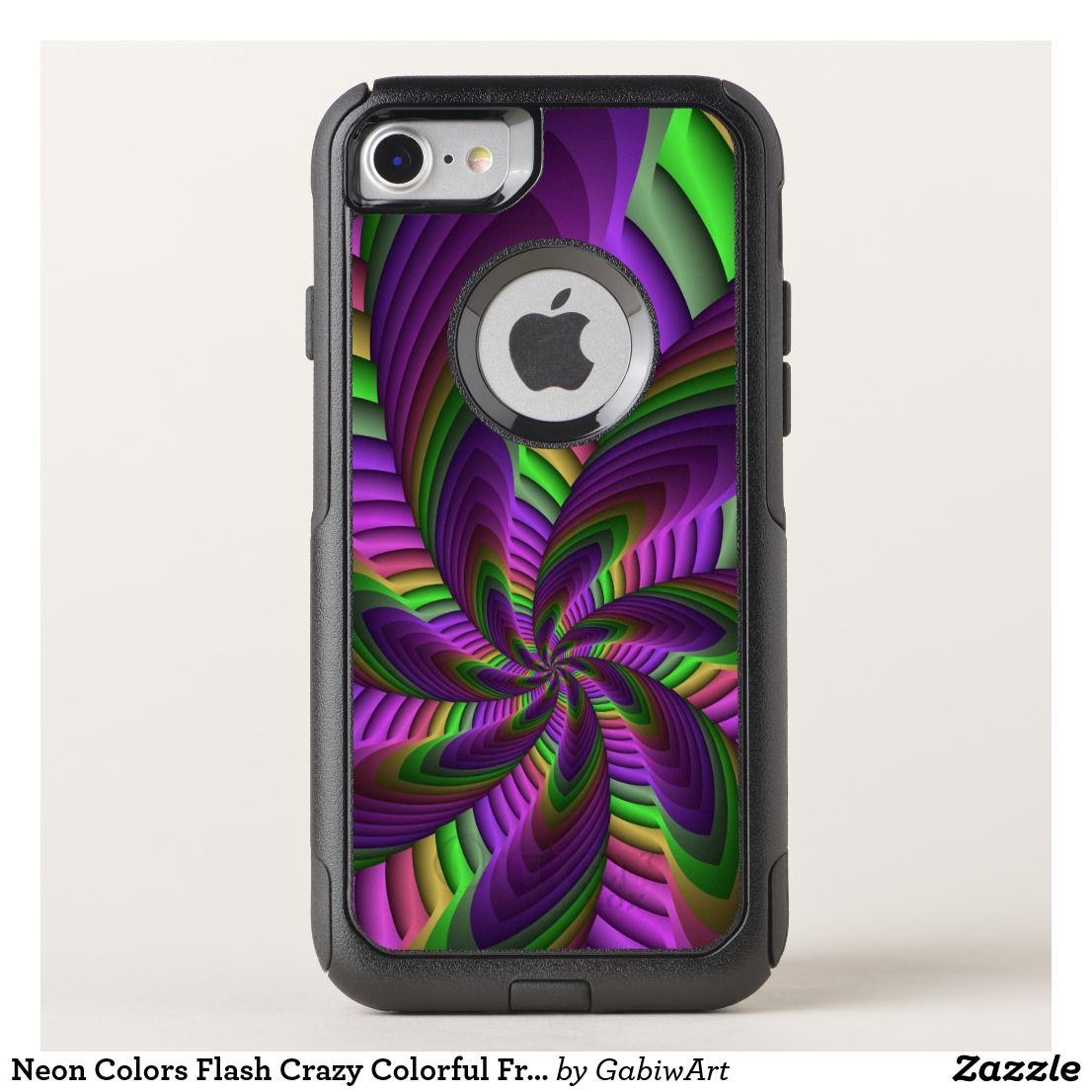 Neon colors flash crazy colorful fractal pattern otterbox