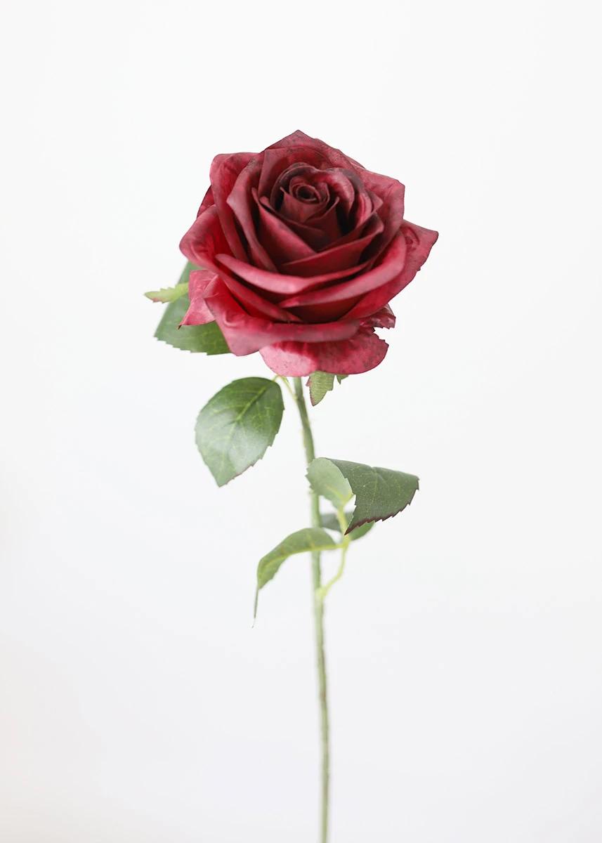 Burgundy Fake Flowers Rose In 2020 Fake Flowers Artificial Flowers Artificial Flowers Wedding