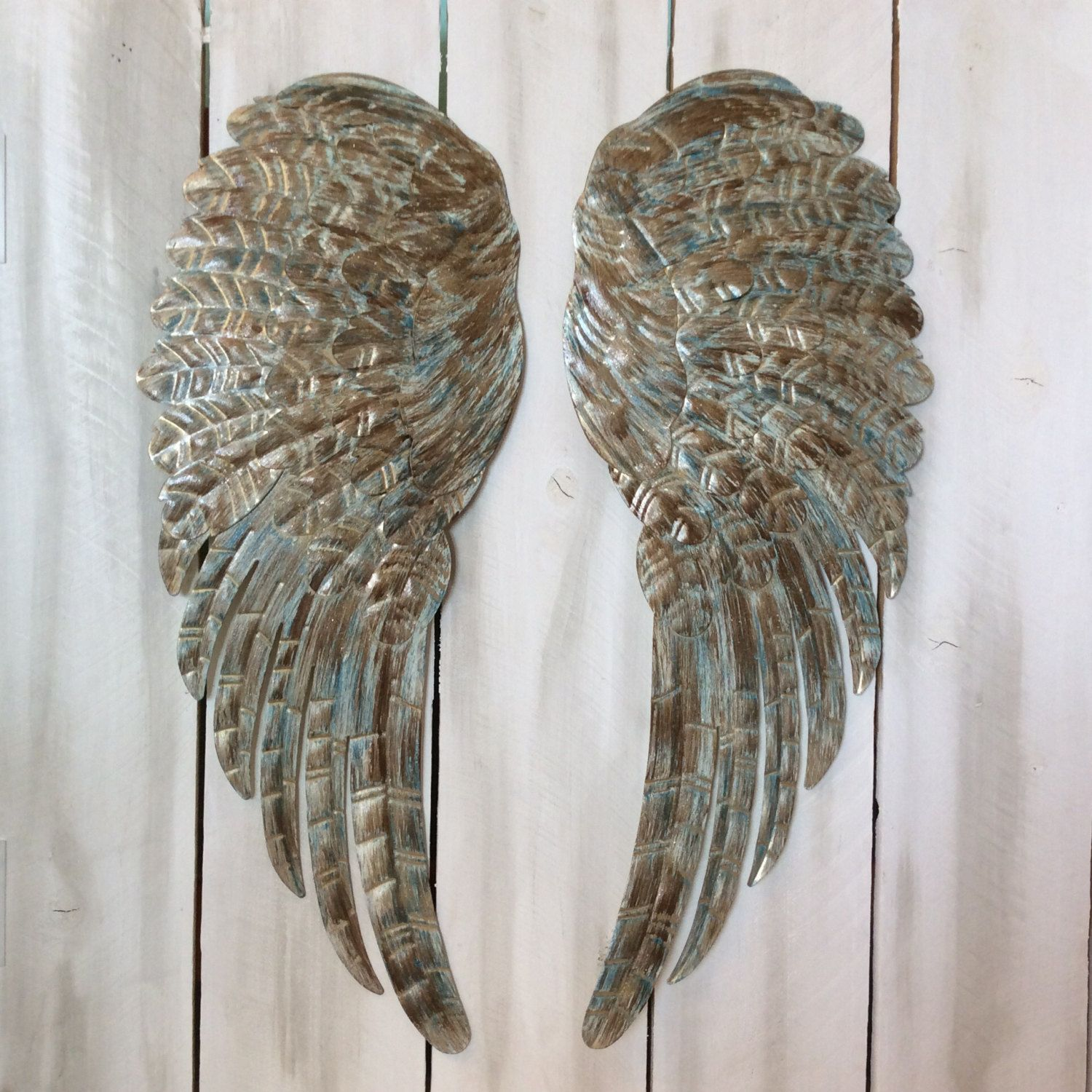 Large metal angel wings wall decor distressed turquoise ivory