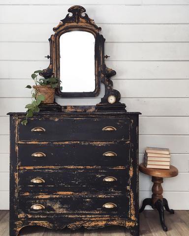Antique Chippy Black Dresser And Mirror Paintedfurniture