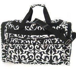 Large 22 Black White Damask Print Duffle Dance Gym Bag Luggage Carry On