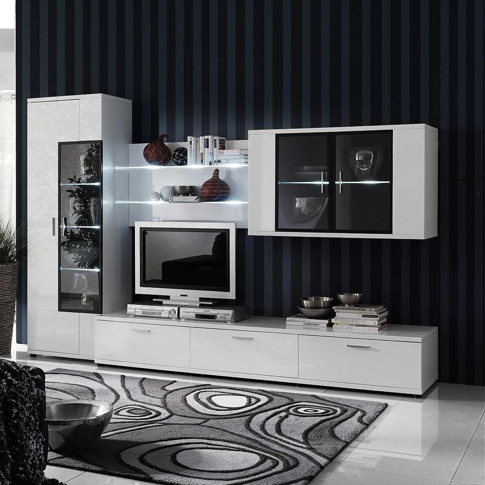 hochglanz wohnwand in weiß schwarz beleuchtung (4-teilig, Wohnzimmer dekoo