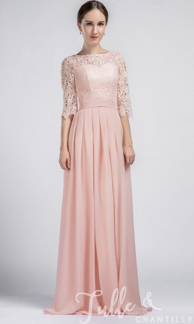 Boat Neck Lace Sleeves Bridesmaid Dress with Chiffon Skirt TBQP356