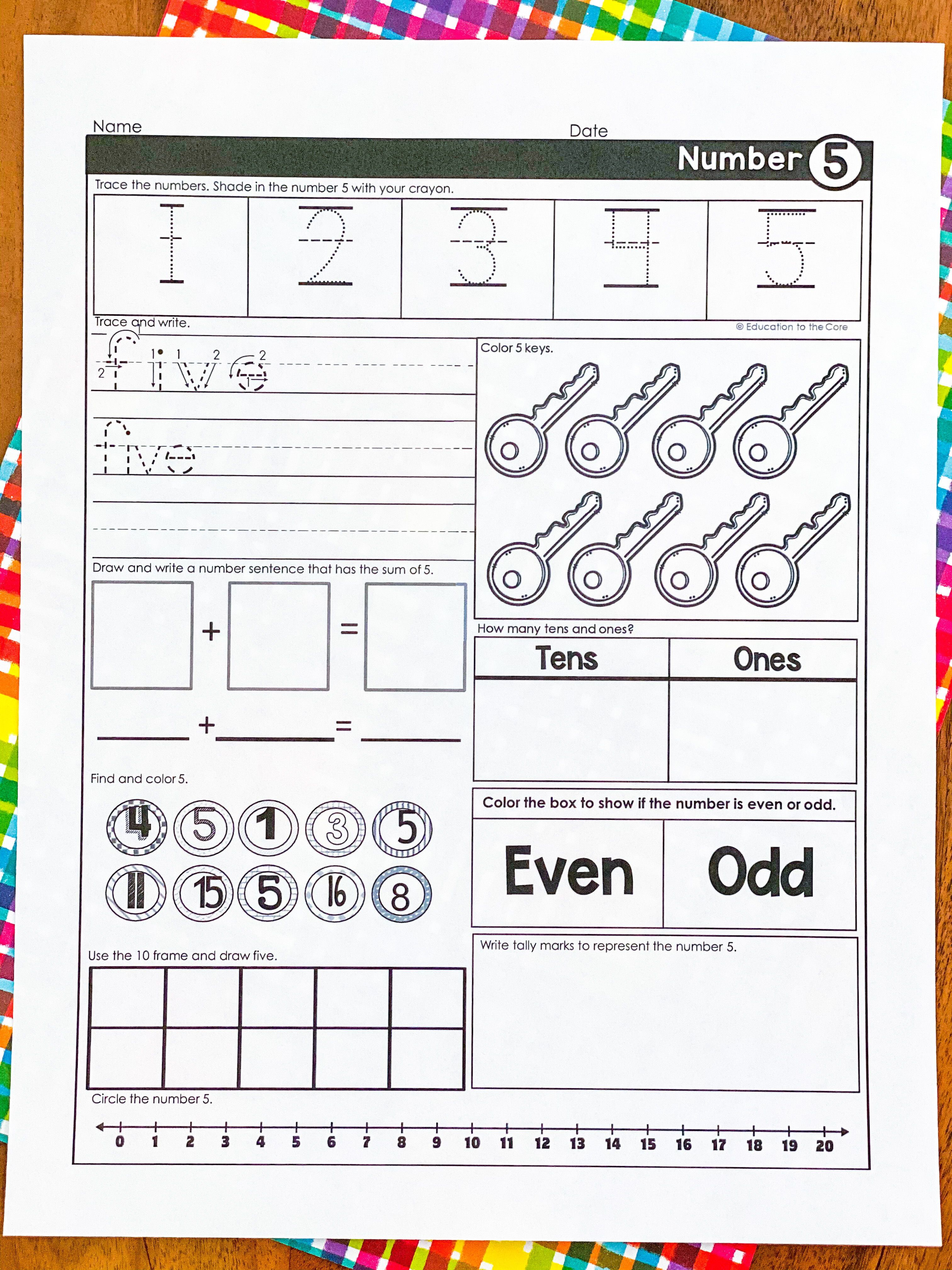 Writing Numbers 1 20 Worksheets